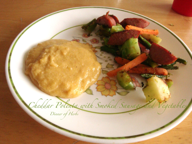 cheddar-polenta-with-smoked-sausage-and-vegetables