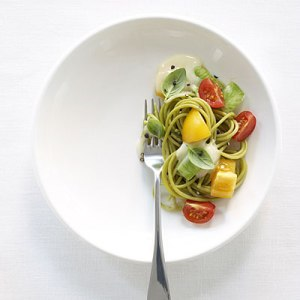 Eat using a small plate. This creates the illusion that the plate has a lot of food on it.