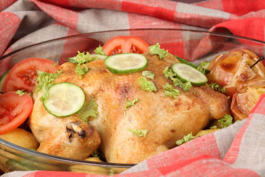 Crispy Roast Chicken with Garlic Chicken Stock and Vegetables