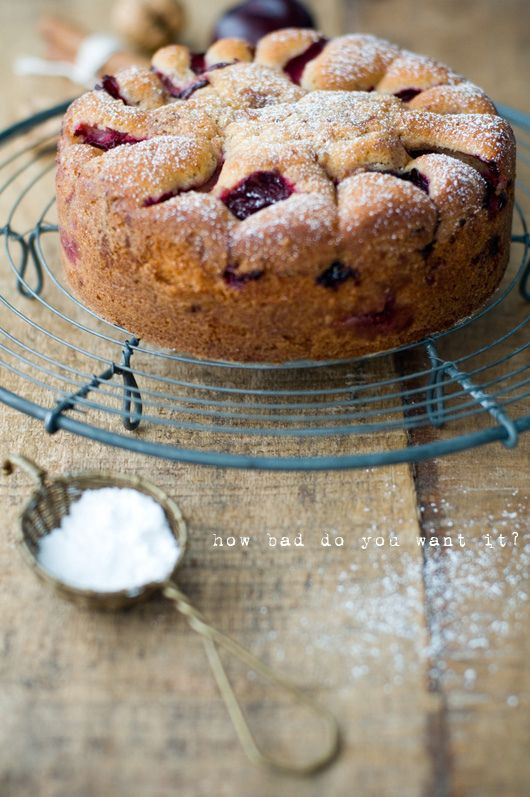 Plum cake made in olive oil