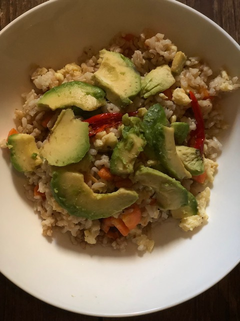 Low-Calorie Avocado And Egg Fried Rice